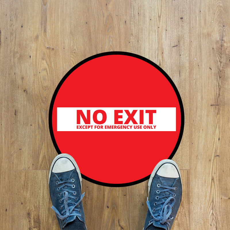 No Exit Floor Graphic - 400mm Circular - Pack of 10