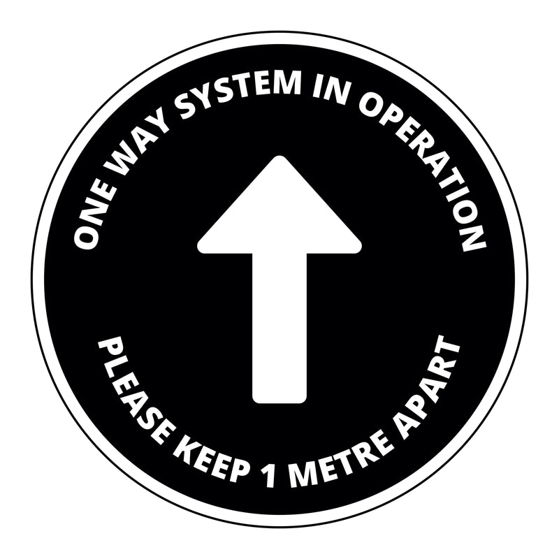 One Way System Floor Graphic - 400mm Circular - Pack of 10