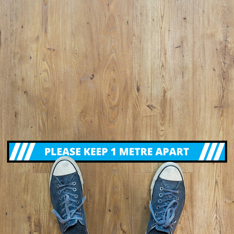 Please Keep 1 Metre Apart Floor Graphic - 1000x100mm Strip - Pack of 10