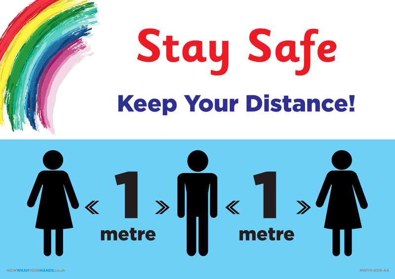 Stay Safe - Keep Your Distance Rainbow x 5