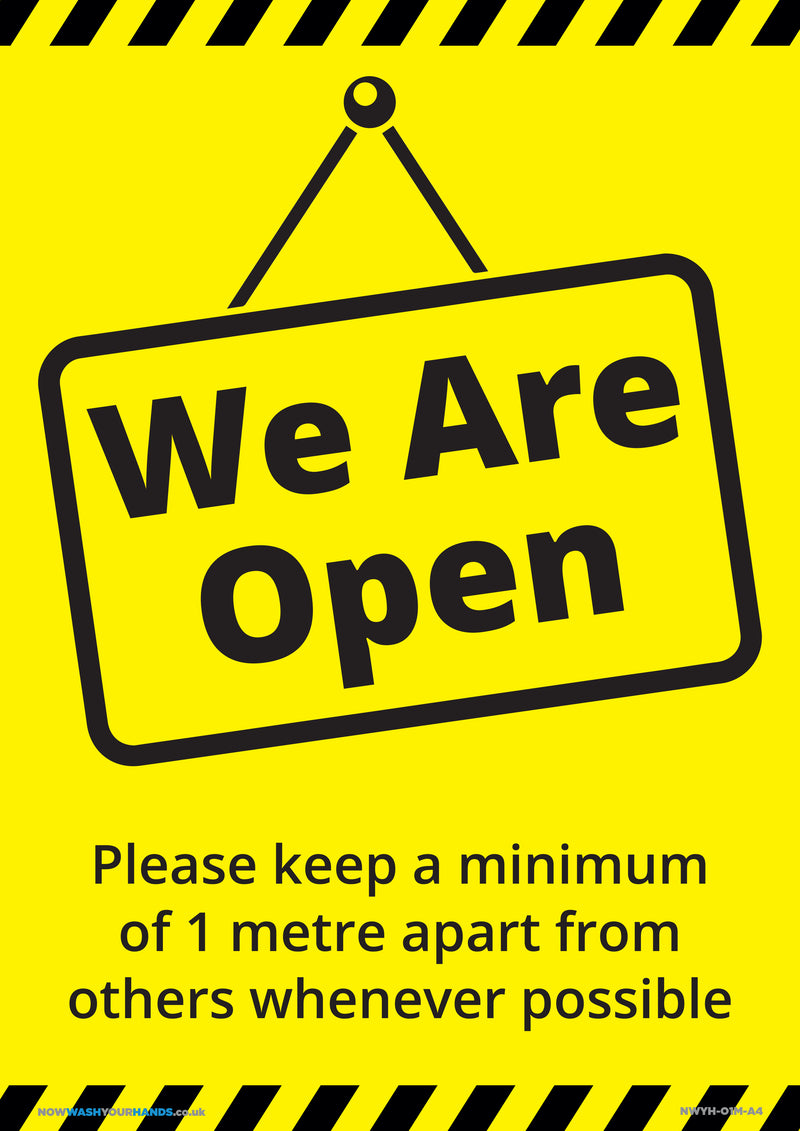 We Are Open - Please Keep 1 Metres Apart x 5