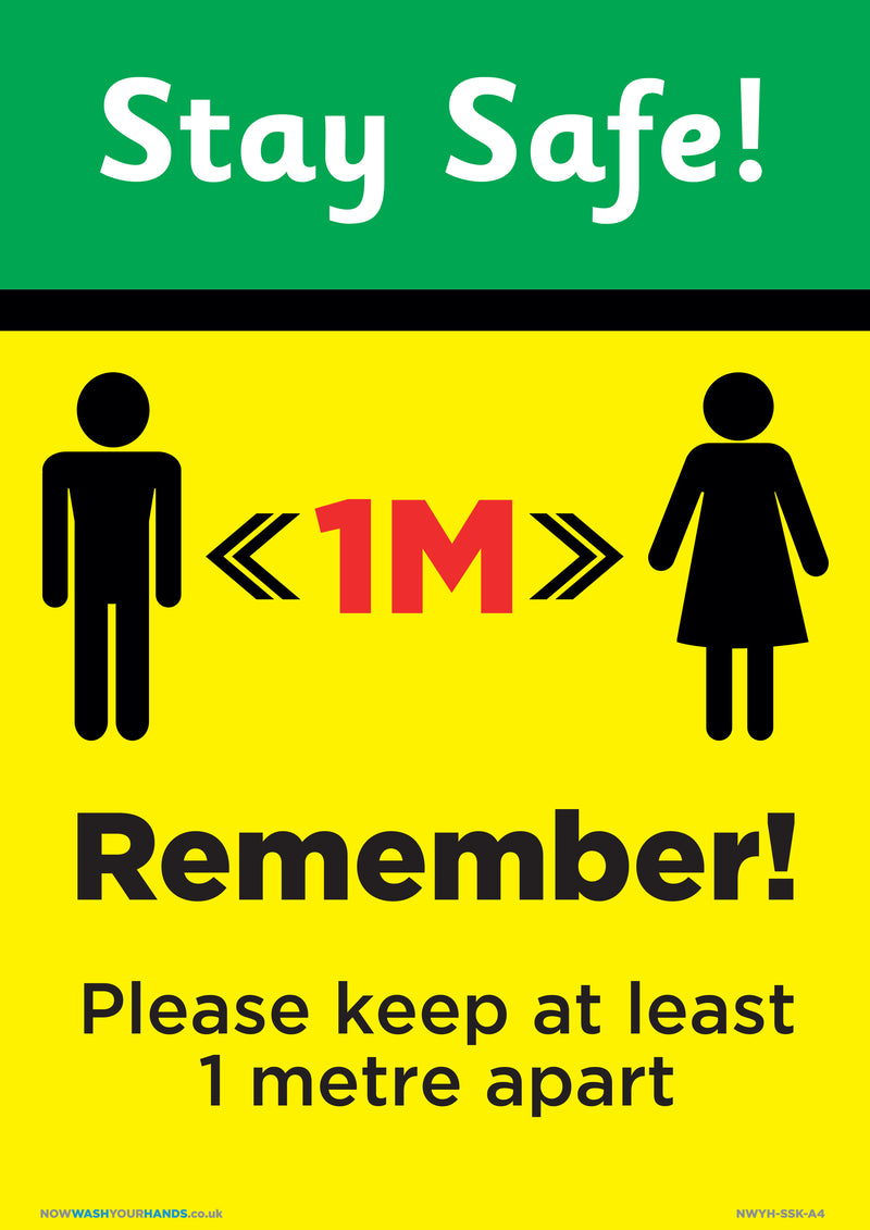 Stay Safe - Keep At Least 1 Metre Apart