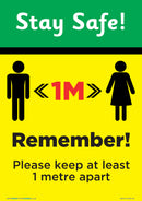 Stay Safe - Keep At Least 1 Metre Apart x 5