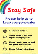 Stay Safe Instructions Rainbow x 5