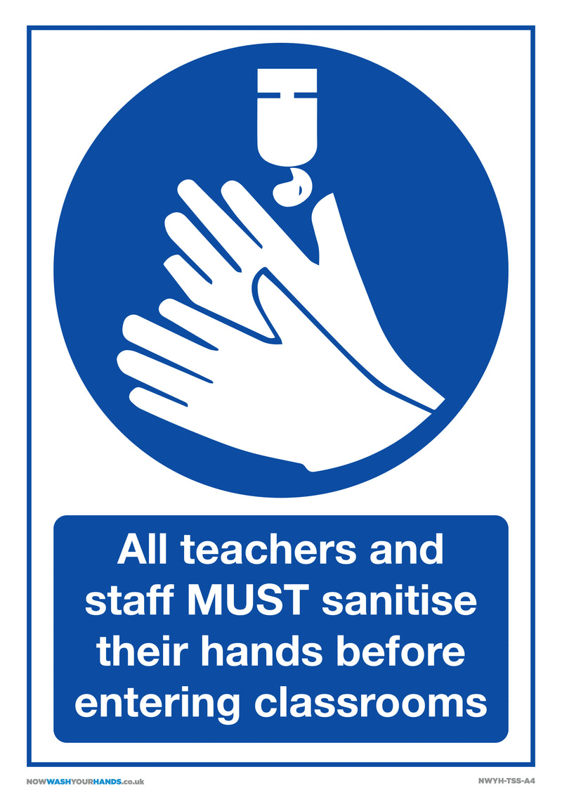 Teachers and Staff Must Sanitise Hands