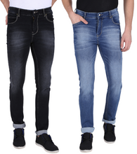 Load image into Gallery viewer, NEBRASKA Stretchable Slim Men Multicolor Jeans  (Pack of 2)
