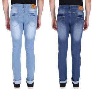 NEBRASKA Stretchable Slim Men Light Blue and Dark Blue Jeans  (Pack of 2)
