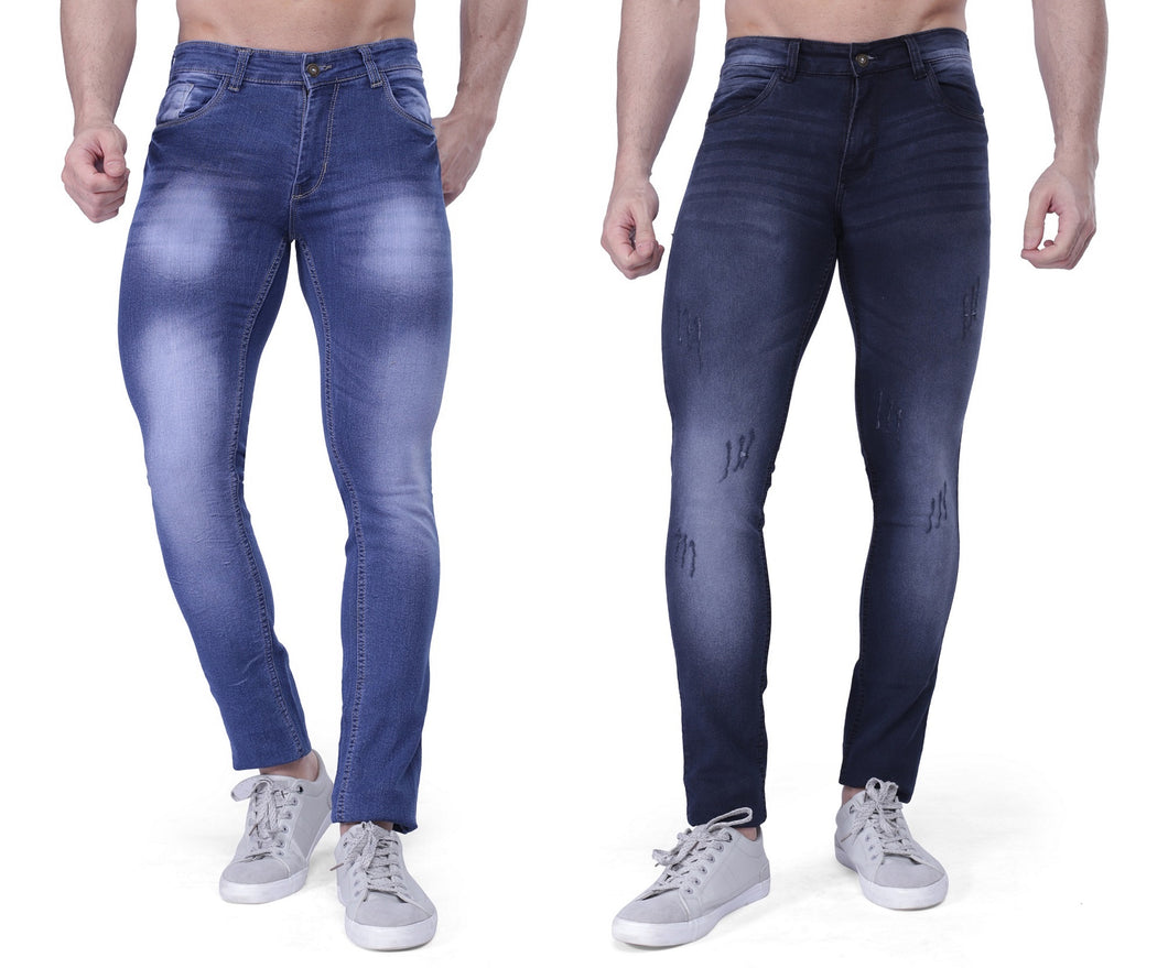 Nebraska Slim Men Multicolor Jeans (pack of 2)