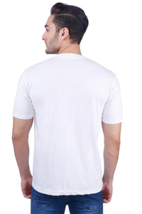 Nebraska Men's Slim Fit Round Neck Half Sleeve White Printed T-Shirt