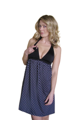 B&W Polka Dot Maternity Nursing Dress - Bikini Mama's - 1