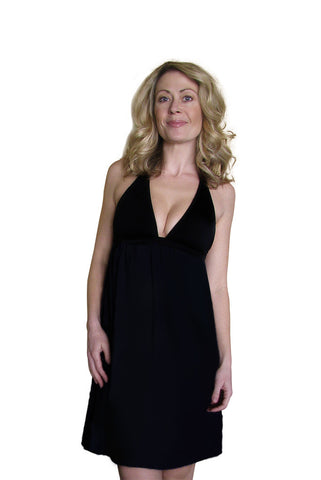 Black BabyDoll Maternity Dress With Nursing Bra