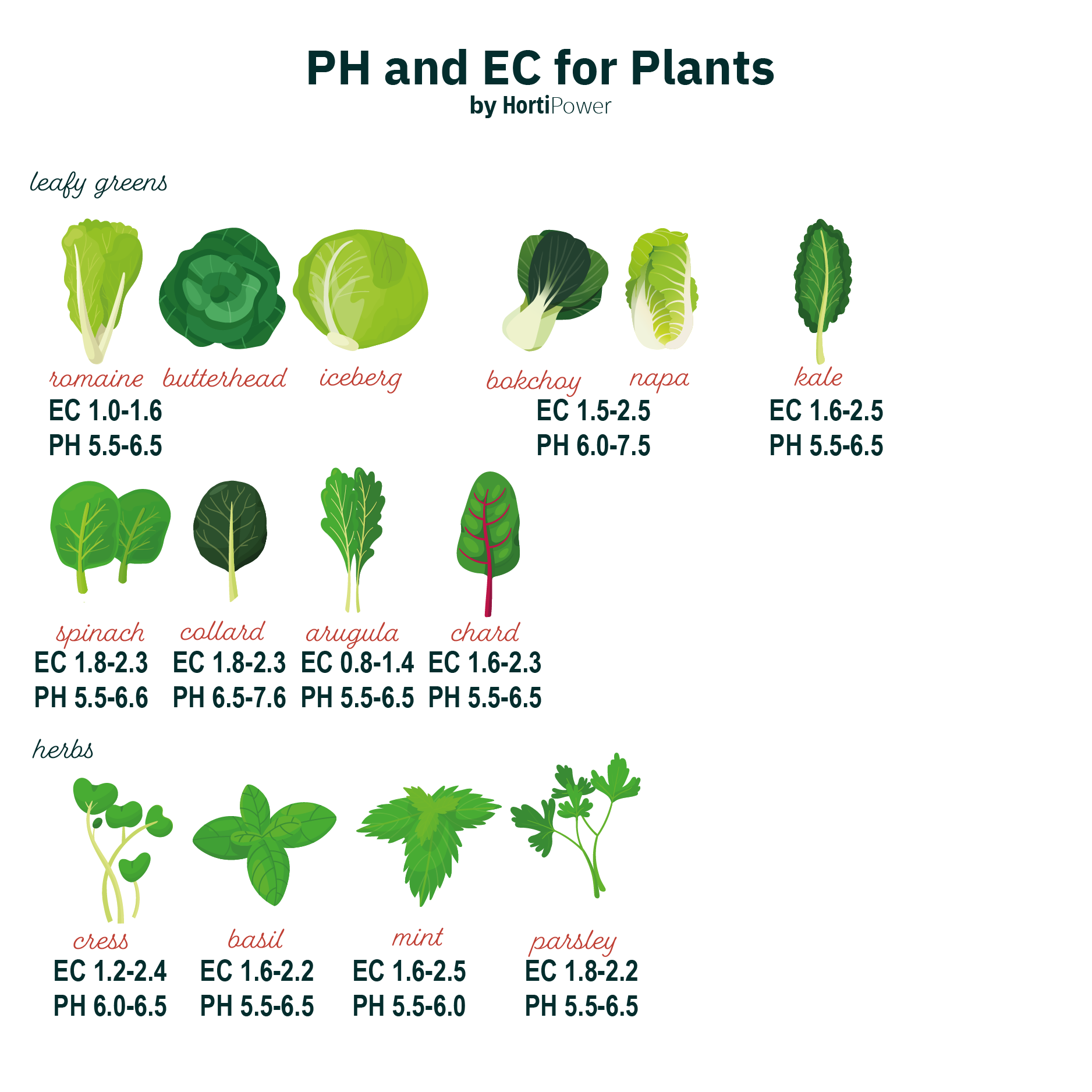 ph and ec for plants - leafy greens