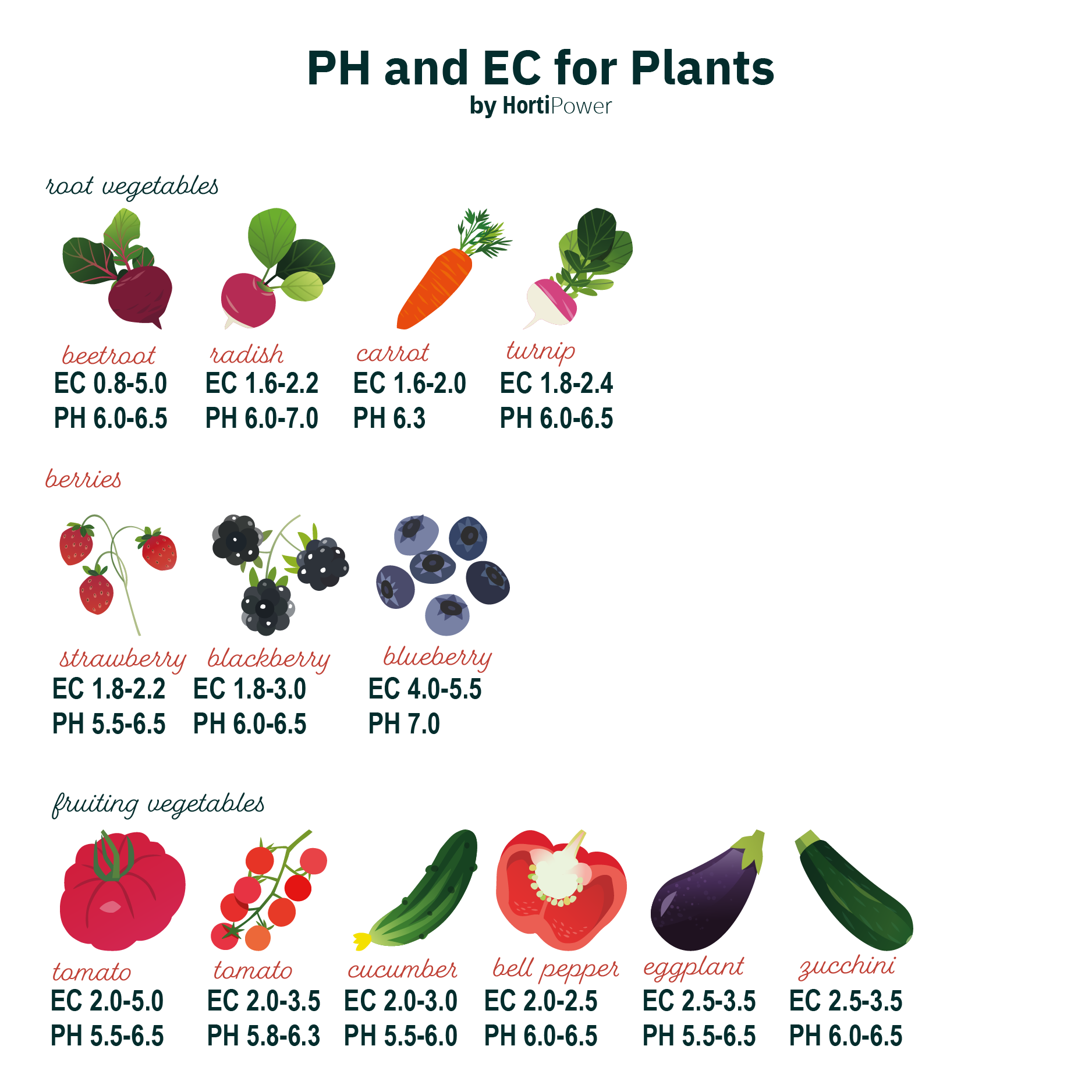 ph and ec for plants rooting crops, berries, vegetable fruiting crops