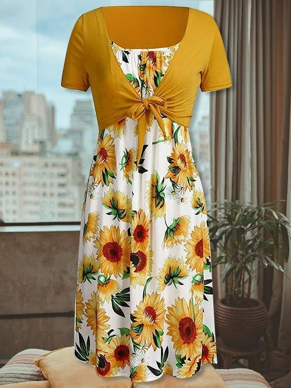 Sleeveless Sunflower Beach Sundress With Cover Up Tops Dresses