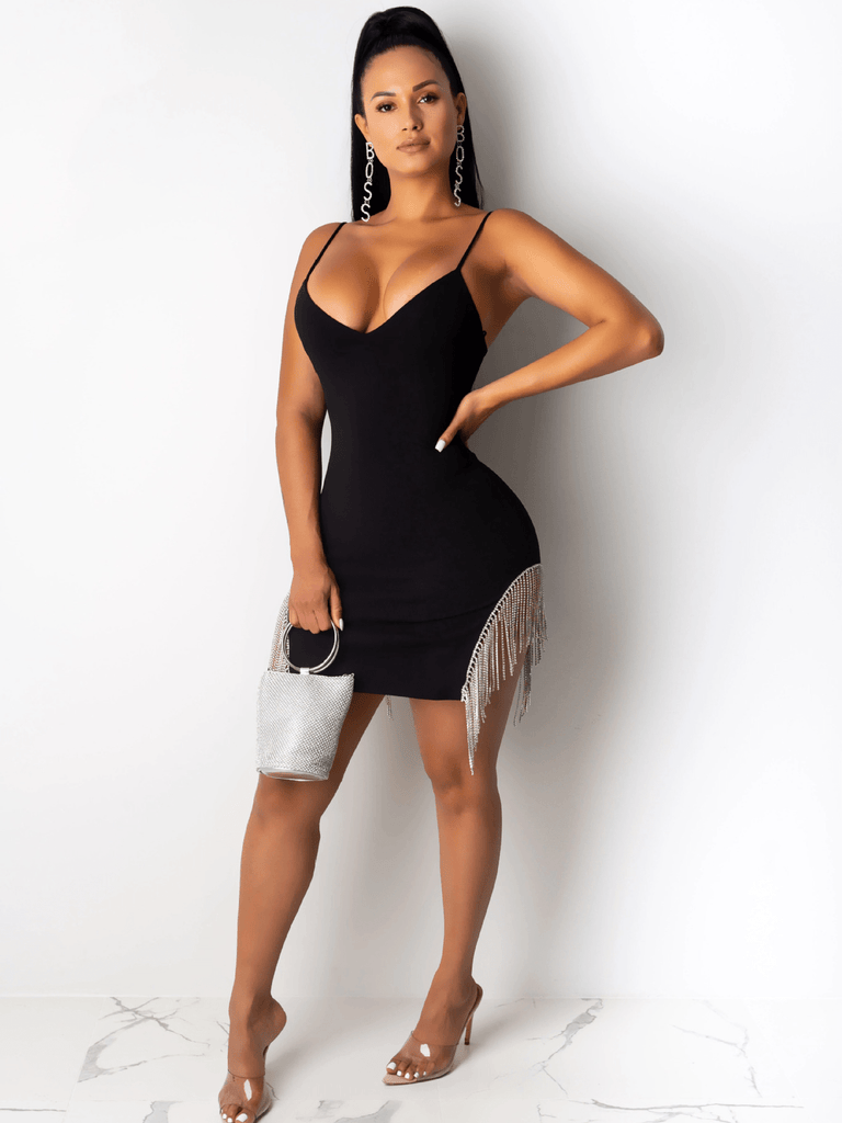 Women Fashion V-neck Camisole  Tight Bodycon Dress