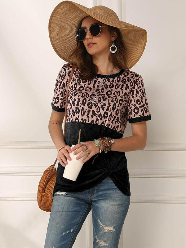 Women's Short Sleeve Leopard Print Shirts