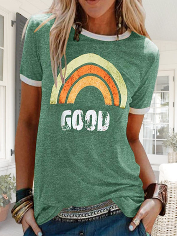 Good Rainbow Graphic Short Sleeve Tees Summer Tops-50%OFF