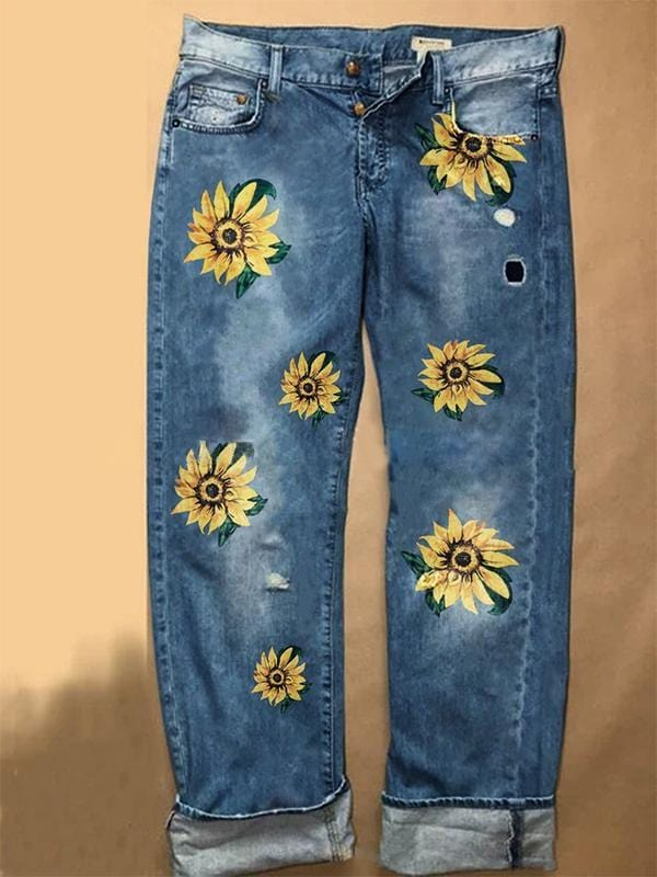 Women Straight Sunflower Print Jeans