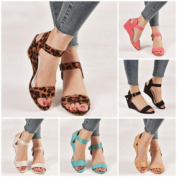 Comfy Wedges Med Heel Open Toe Sandals