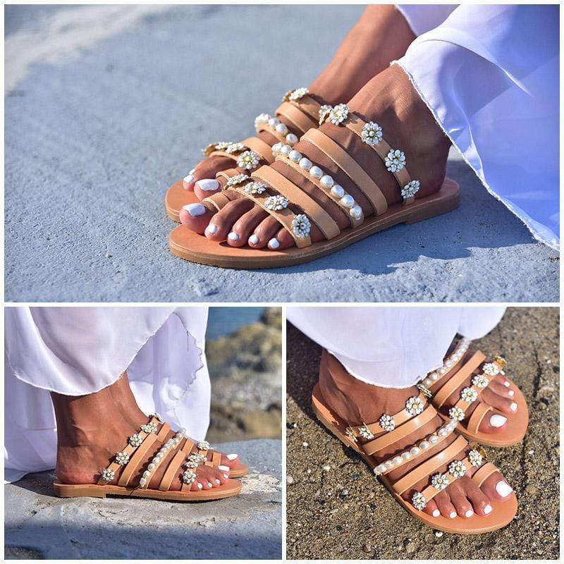 Comfortable Flat Flower Decoration Beach Sandals