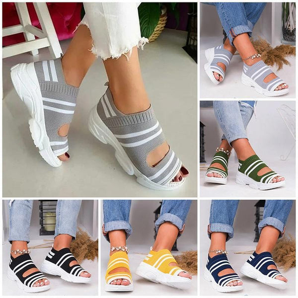 Casual Woven Wedge Comfy Open Toe Sandals-YUMAN