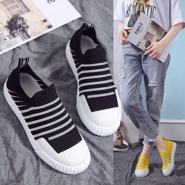 Stripe Comfy Slip-On Sneakers