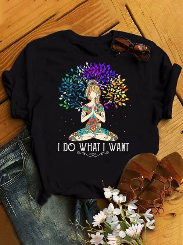 Women Yoga Graphic Printed Casual T-shirt