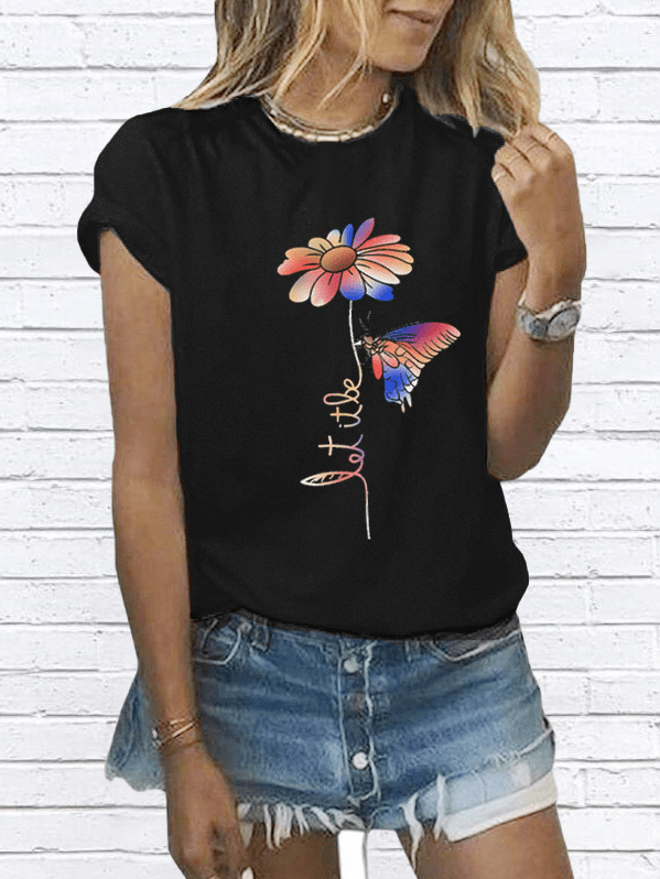 Floral Casual O-Neckline Short Sleeve Blouses