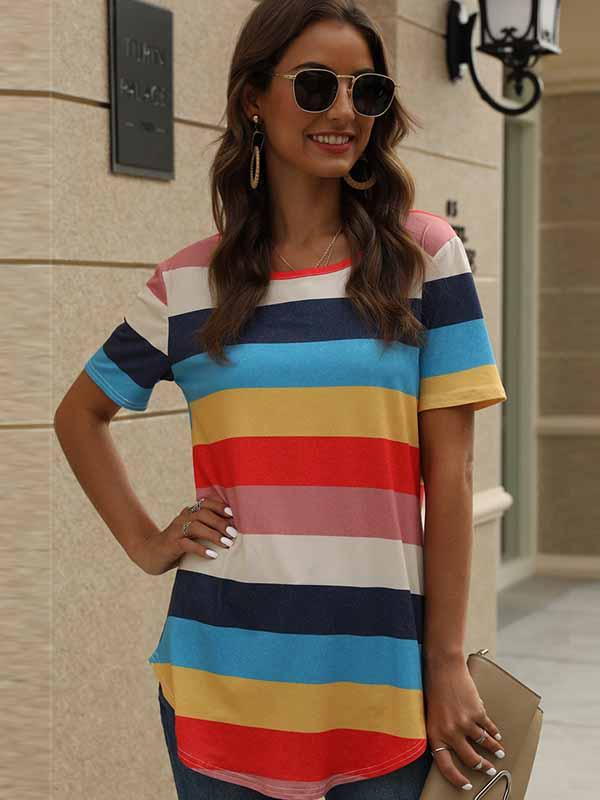 Women Casual Stripe Print Short Sleeve T-shirt