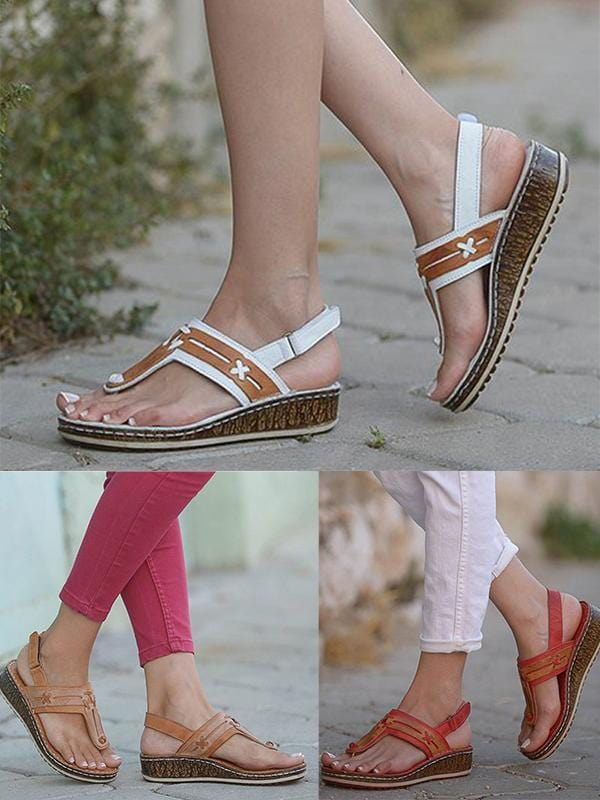Summer Buckle Artificial Leather Wedges Sandals