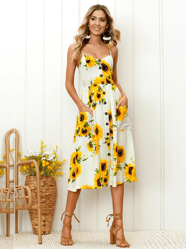 Women V Neck Floral Print  Sleeveless Midi Dress