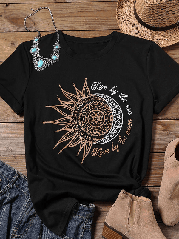 """Live By The Sun"" Round Neckline Short Sleeve T-shirt"