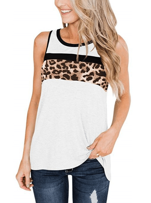 Women's Leopard Patchwork Tank Tops