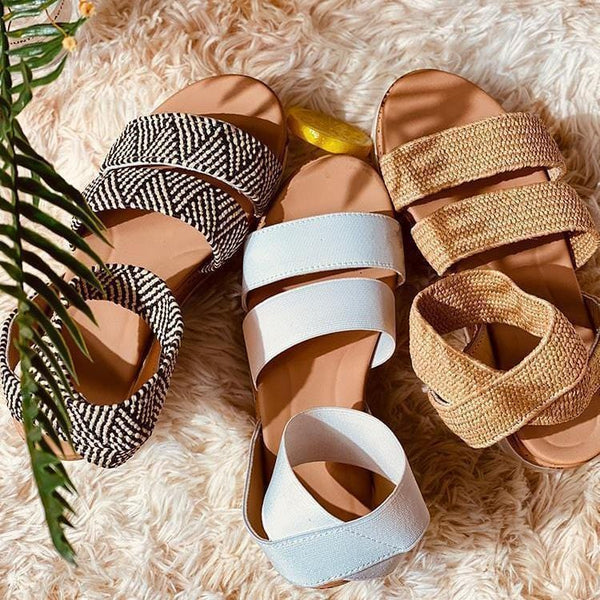 DOUBLE STRIPES BOHEMIAN SEWING PLATFORM SANDALS