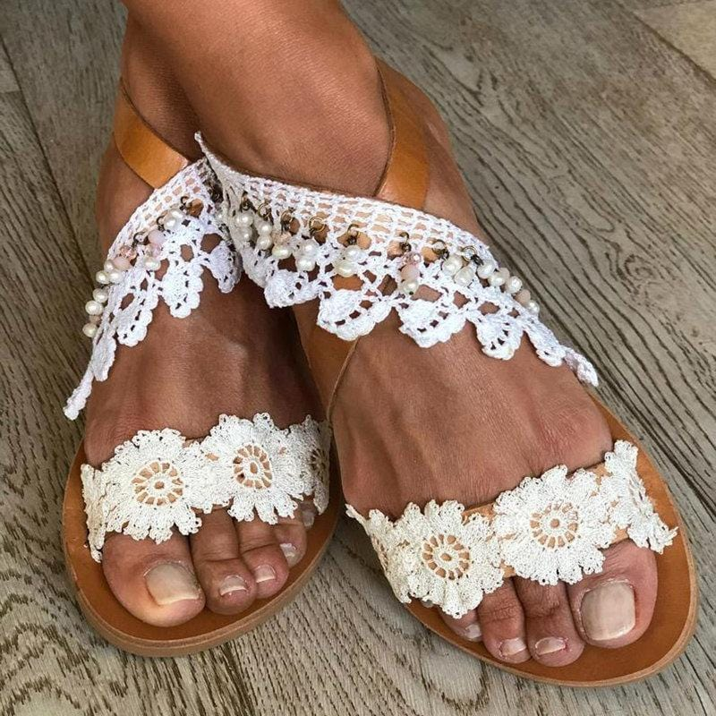 Flowers Flat Holiday Summer Sandals