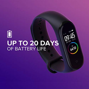 Mi Smart Band 4- India's No.1 Fitness Band, Up-to 20 Days Battery Life, Color AMOLED Full-Touch Screen, Waterproof with Music Control and Unlimited Watch Faces
