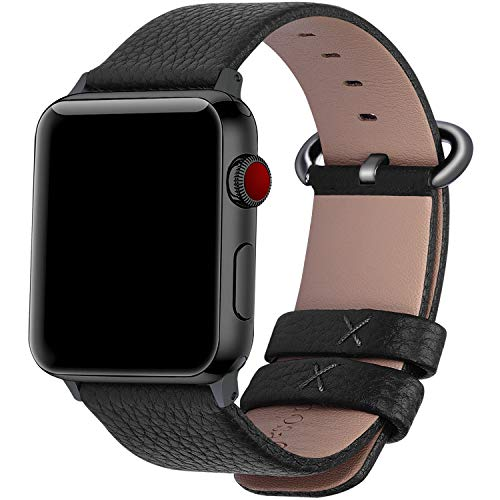 Funky Stranky Compatible Apple Watch Strap 42mm 44mm 38mm 40mm Calf Leather iWatch Band/Strap for Apple Watch Series 5 Series 4 Series 3 Series 2 Series 1, 44mm 42mm Black+Gunmetal Buckle( Watch Not Include)