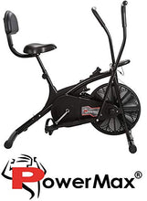 Load image into Gallery viewer, Powermax Fitness BU-205 Exercise Cycle for Weight Loss at Home | Air Bike with back support and moving handles