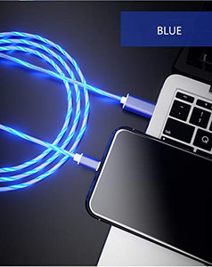 LED Light Flow Cable Fast Charging Cable Charger Cable & Data USB Fast Charging Cable Compatible for I-Devices 11/11 PRO/11PRO MAX/X/XsMax/XR/Xs /8/8/7/7Plus and All I-Device(1 Meter) (Blue)
