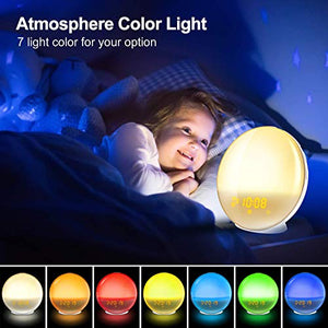 Wake Up Light Alarm Clock, Kids Night Light Compatible with Alexa & Google Home, 7 Colored Sunrise Simulation and Sunset Fading, Dual Alarm Clock with FM Radio, USB Charge Port
