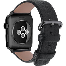 Load image into Gallery viewer, Funky Stranky Compatible Apple Watch Strap 42mm 44mm 38mm 40mm Calf Leather iWatch Band/Strap for Apple Watch Series 5 Series 4 Series 3 Series 2 Series 1, 44mm 42mm Black+Gunmetal Buckle( Watch Not Include)