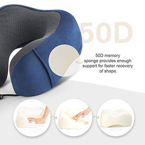 FunkyStranky Travel Neck Support Pillow for Sleeping 100% Memory Foam with 3D Eye Mask Noise Isolating Ear Plugs Portable Combo for Adults (Navy Blue)