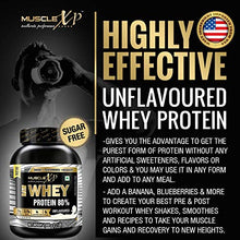 Load image into Gallery viewer, MuscleXP Raw Whey Protein Concentrate 80% Powder With Digestive Enzymes, Unflavored, 1Kg (2.2lb)