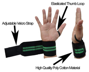 Kobo WTA-04 Power Cotton Gym Support with Thumb Support Grip Gloves (Black)