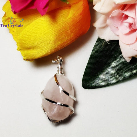 Wire wrapped Rose Quartz Tumble Pendant
