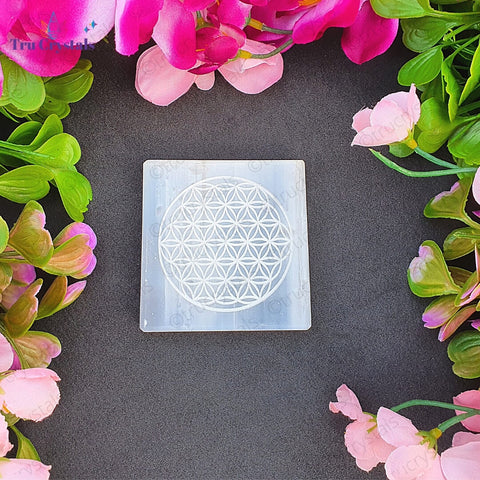 Bracelet Charging Selenite Plate: Flower of life