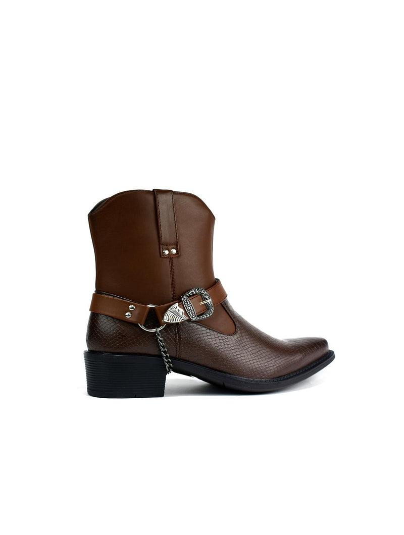 High Top Ankle Cowboy Boot Brown - WISAKI ONLINE STORE