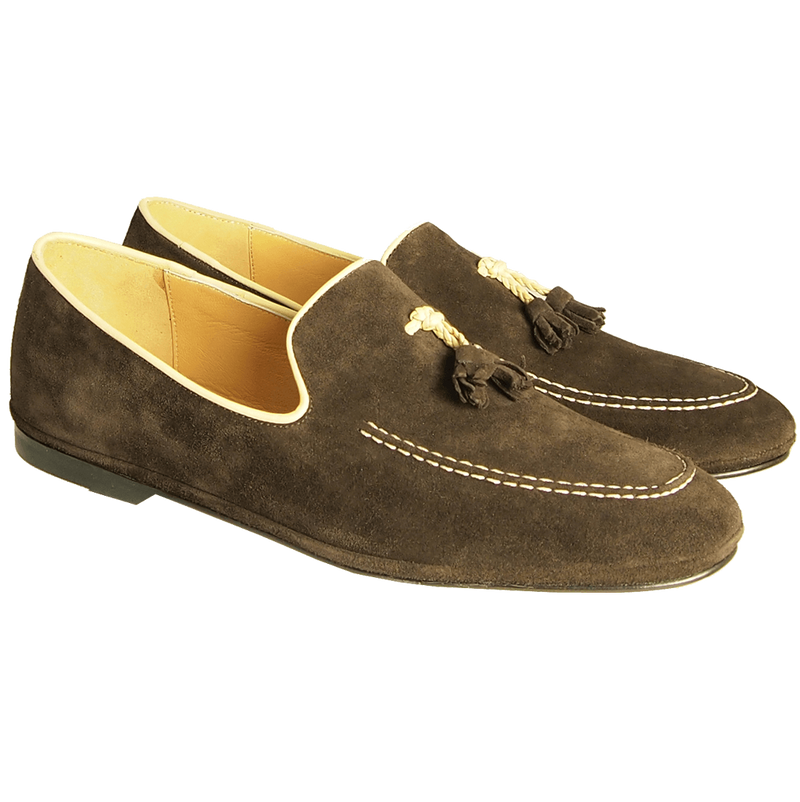 Suede Loafers in Calf Leather Trimming - WISAKI