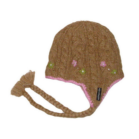 Flower Cable Earflap Beige - 10906