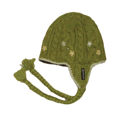 Flower Cable Earflap Green - 10907